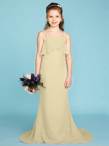 Sheath / Column Spaghetti Strap Sweep / Brush Train Chiffon Junior Bridesmaid Dress With Tiered / Wedding Party / Open Back_13