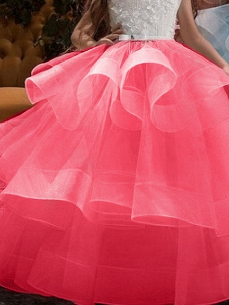 Princess Maxi Pageant Flower Girl Dresses - Polyester Sleeveless Jewel Neck With Bow(S) / Embroidery_2