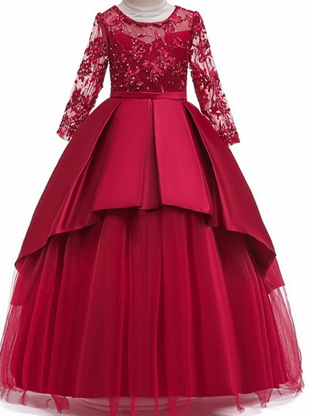 Ball Gown Floor Length Pageant Flower Girl Dresses - Polyester Long Sleeve Jewel Neck With Ruffles / Tier / Appliques_6