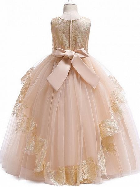 Princess Round Floor Length Cotton Junior Bridesmaid Dress With Bow(S) / Tier / Appliques_9