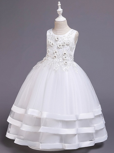 Princess Medium Length Wedding / Party / Pageant Flower Girl Dresses - Satin / Tulle / Cotton Sleeveless Jewel Neck With Belt / Embroidery / Appliques_7