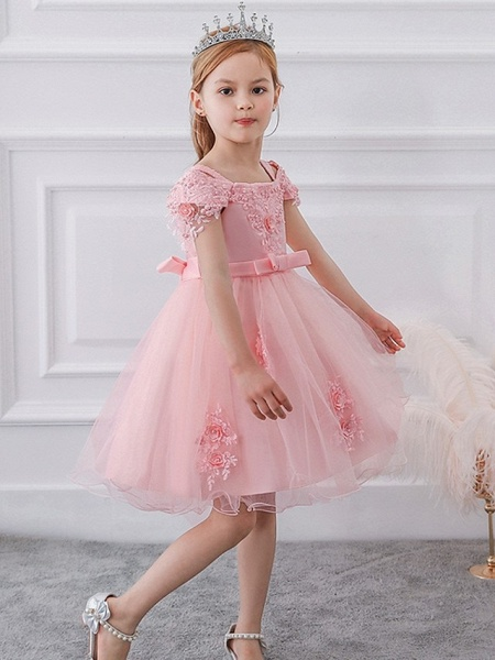 Princess / Ball Gown Knee Length Wedding / Party Flower Girl Dresses - Satin / Tulle Short Sleeve Off Shoulder With Sash / Ribbon / Bow(S) / Appliques_2