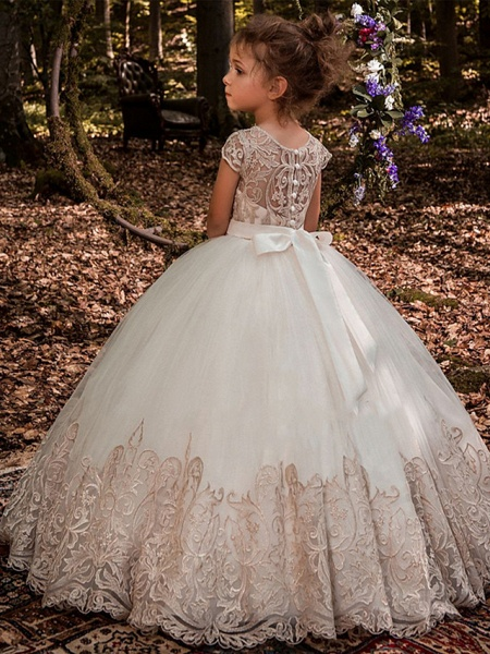 Ball Gown Sweep / Brush Train Wedding / Birthday / Pageant Flower Girl Dresses - Lace / Tulle / Cotton Short Sleeve Jewel Neck With Lace / Belt / Embroidery_2