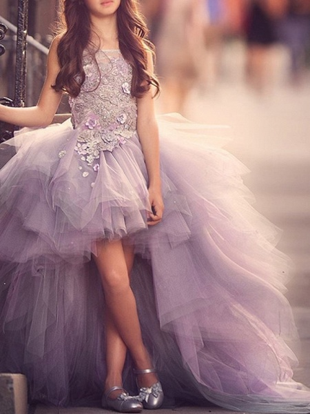 Ball Gown Sweep / Brush Train Pageant Flower Girl Dresses - Polyester Sleeveless Jewel Neck With Appliques_3