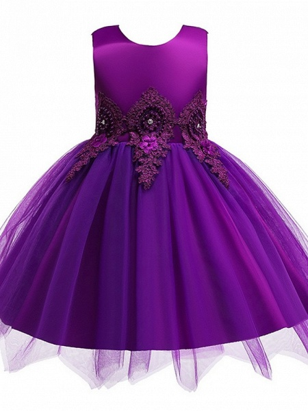 Princess / Ball Gown Knee Length Wedding / Party Flower Girl Dresses - Lace / Satin / Tulle Sleeveless Jewel Neck With Appliques_5