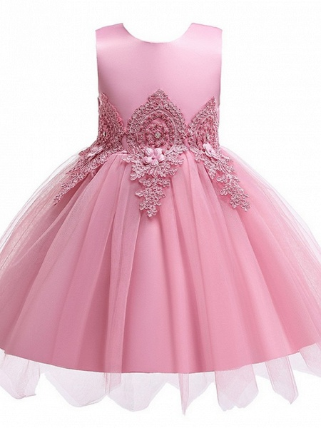 Princess / Ball Gown Knee Length Wedding / Party Flower Girl Dresses - Lace / Satin / Tulle Sleeveless Jewel Neck With Appliques_8