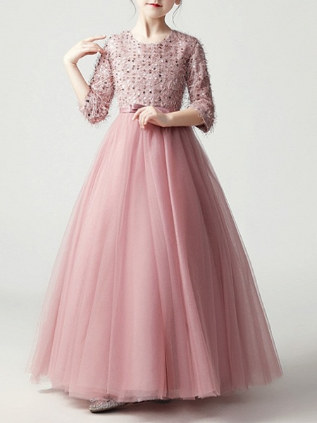 A-Line Floor Length Pageant Flower Girl Dresses - Tulle 3/4 Length Sleeve Jewel Neck With Feathers / Fur / Bow(S) / Paillette_4
