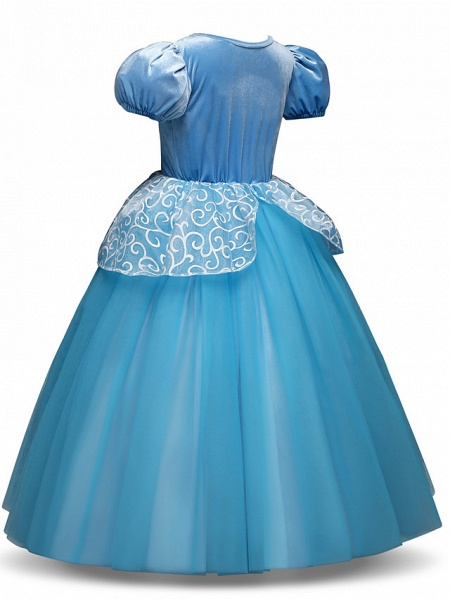 Princess Long Length Party / Birthday / Pageant Flower Girl Dresses - Tulle / Polyester Short Sleeve Jewel Neck With Tier / Appliques_2