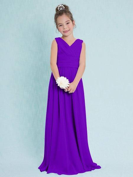 Sheath / Column V Neck Floor Length Chiffon Junior Bridesmaid Dress With Criss Cross / Ruched / Natural_36