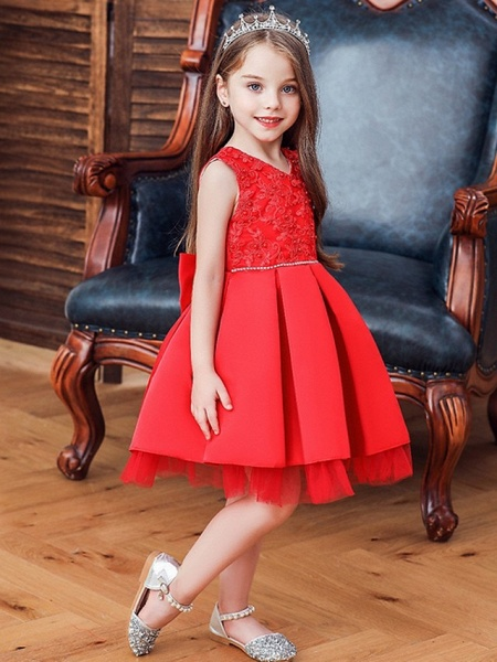 Princess / Ball Gown Knee Length Wedding / Party Flower Girl Dresses - Tulle Sleeveless V Neck With Sash / Ribbon / Bow(S) / Appliques_3