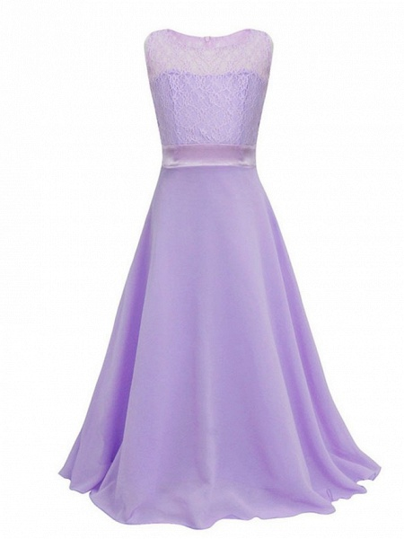 Princess / Ball Gown Maxi Party / Formal Evening / Pageant Flower Girl Dresses - Tulle / Poly&Cotton Blend Sleeveless Jewel Neck With Lace / Solid_9