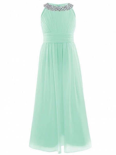 A-Line Round Floor Length Chiffon / Sequined Junior Bridesmaid Dress With Beading / Ruching_4