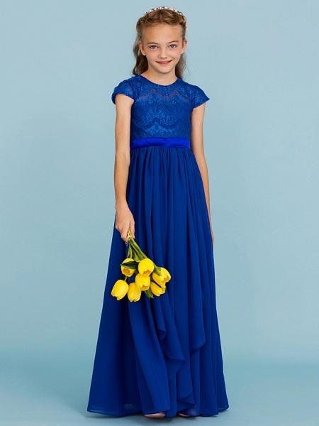 Princess / A-Line Crew Neck Floor Length Chiffon / Lace Junior Bridesmaid Dress With Sash / Ribbon / Bow(S) / Wedding Party_5