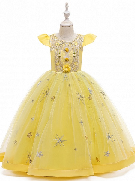 A-Line Ankle Length Wedding / Party / Pageant Flower Girl Dresses - Tulle / Matte Satin / Poly&Cotton Blend Short Sleeve Jewel Neck With Pattern / Print / Solid_8