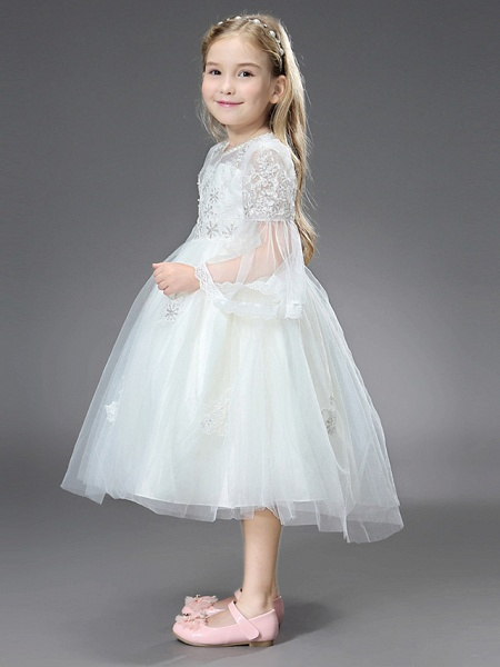 Princess / Ball Gown Ankle Length / Royal Length Train Wedding / First Communion Flower Girl Dresses - Tulle / Matte Satin Long Sleeve Jewel Neck With Beading / Appliques / Butterfly_6