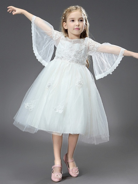 Princess / Ball Gown Ankle Length / Royal Length Train Wedding / First Communion Flower Girl Dresses - Tulle / Matte Satin Long Sleeve Jewel Neck With Beading / Appliques / Butterfly_5