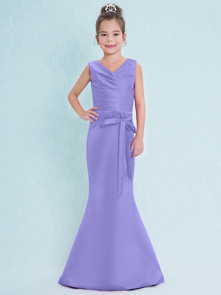 Mermaid / Trumpet V Neck Floor Length Satin Junior Bridesmaid Dress With Criss Cross / Natural_39