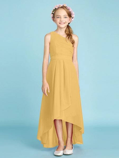 A-Line One Shoulder Asymmetrical Chiffon Junior Bridesmaid Dress With Sash / Ribbon / Bow(S) / Side Draping / Natural_25