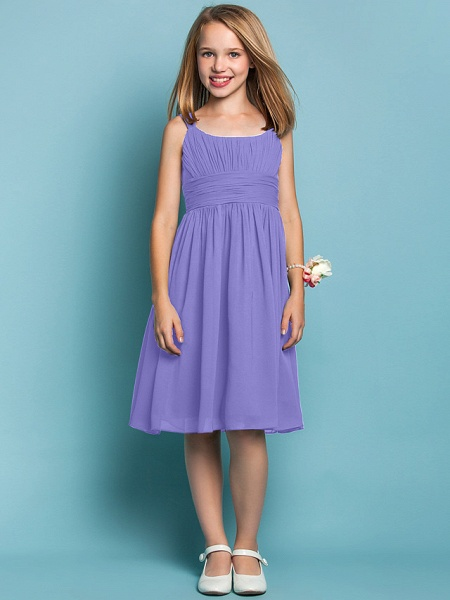 Sheath / Column Straps Knee Length Chiffon Junior Bridesmaid Dress With Ruched / Draping / Spring / Summer / Fall / Apple / Hourglass_37