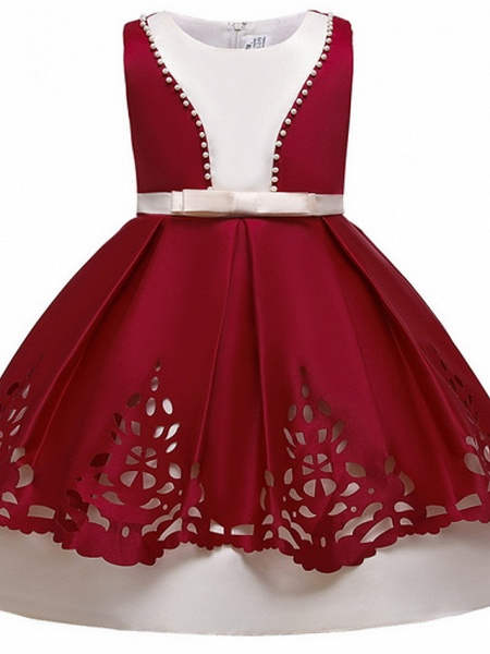 Ball Gown Ankle Length Pageant Flower Girl Dresses - Polyester Sleeveless Jewel Neck With Beading_3