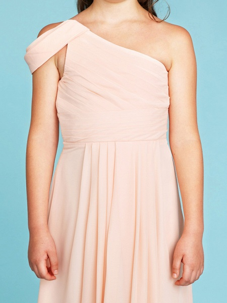 Princess / A-Line One Shoulder Floor Length Chiffon Junior Bridesmaid Dress With Sash / Ribbon / Side Draping / Wedding Party / Open Back_6