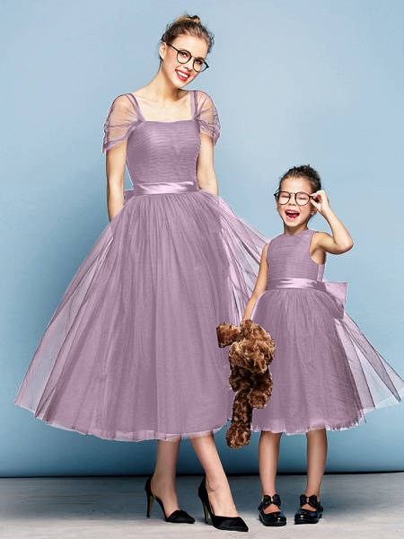 Princess Tea Length Party / Prom / Formal Evening Flower Girl Dresses - Tulle Short Sleeve Square Neck With Bow(S) / Ruched / Elegant_42