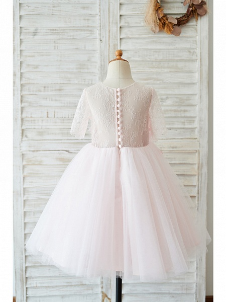 Ball Gown Knee Length Wedding / Birthday Flower Girl Dresses - Lace / Tulle Sleeveless Jewel Neck With Petal / Pearls_2