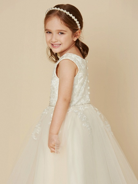 A-Line Knee Length Wedding / First Communion Lace / Tulle Sleeveless Jewel Neck With Beading / Appliques_6