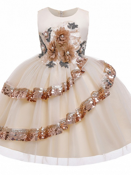 Princess Knee Length Pageant Flower Girl Dresses - Poly / Polyester / Cotton Sleeveless Jewel Neck With Butterfly Design / Beading / Appliques_6