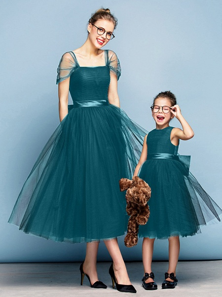 Princess Tea Length Party / Prom / Formal Evening Flower Girl Dresses - Tulle Short Sleeve Square Neck With Bow(S) / Ruched / Elegant_34