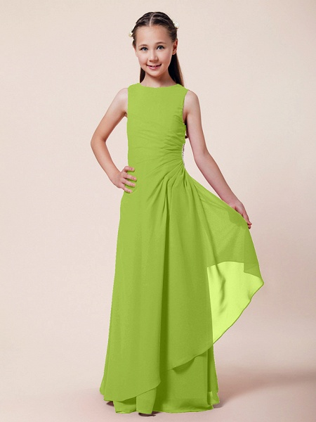 A-Line / Sheath / Column Bateau Neck Floor Length Chiffon Junior Bridesmaid Dress With Beading / Side Draping / Spring / Summer / Fall / Winter / Wedding Party_24