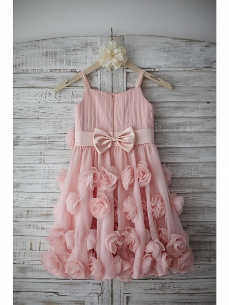 A-Line Knee Length Holiday Flower Girl Dresses - Chiffon Sleeveless Straps With Sash / Ribbon / Bow(S) / Draping_5