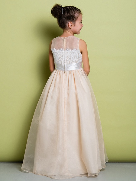 A-Line Floor Length Lace / Organza Sleeveless Jewel Neck With Lace_6