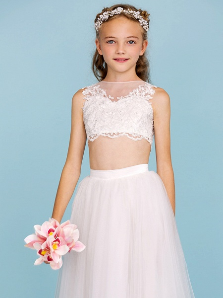 Princess / A-Line Bateau Neck Floor Length Lace / Tulle Junior Bridesmaid Dress With Pearls / Appliques / Beautiful Back / Wedding Party / See Through_6