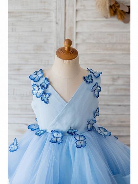 Ball Gown Knee Length Wedding / Birthday Flower Girl Dresses - Satin / Tulle Sleeveless V Neck With Butterfly Design_3
