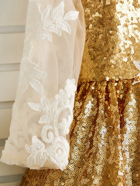 Princess Asymmetrical Wedding / Birthday / Pageant Flower Girl Dresses - Tulle / Sequined Long Sleeve Jewel Neck With Lace / Beading / Appliques_10