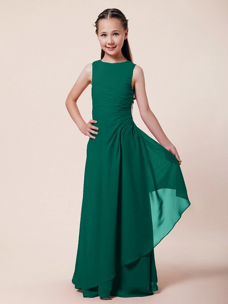 A-Line / Sheath / Column Bateau Neck Floor Length Chiffon Junior Bridesmaid Dress With Beading / Side Draping / Spring / Summer / Fall / Winter / Wedding Party_22