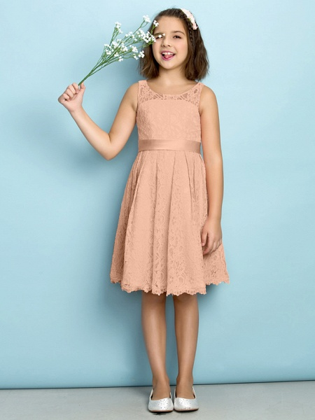 A-Line Scoop Neck Knee Length All Over Floral Lace Junior Bridesmaid Dress With Lace / Natural / Mini Me_11