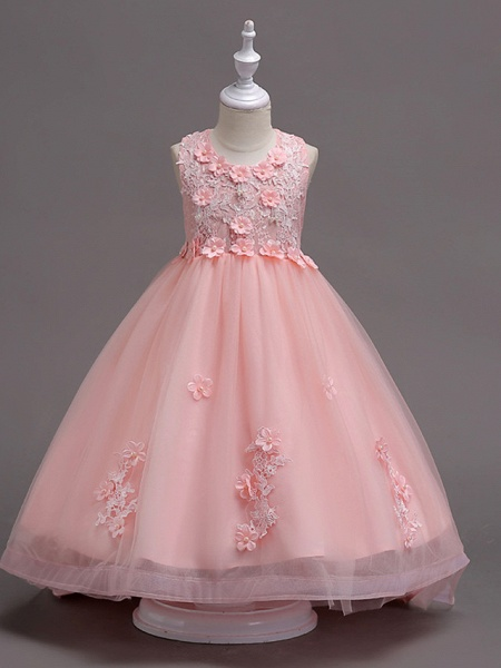 Princess Knee Length Flower Girl Dress - Lace / Tulle Sleeveless Jewel Neck With Appliques / Crystals / Lace By Lan Ting Express_5