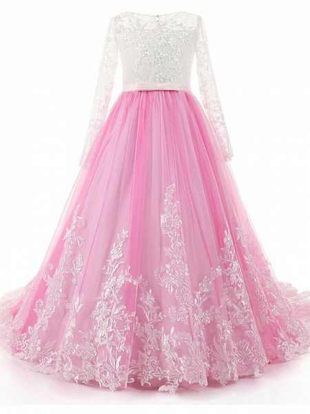 Ball Gown Sweep / Brush Train Wedding / Birthday / Pageant Flower Girl Dresses - Lace / Tulle / Cotton Long Sleeve Jewel Neck With Lace / Beading / Appliques_3