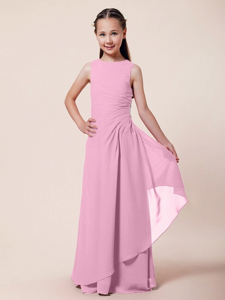 A-Line / Sheath / Column Bateau Neck Floor Length Chiffon Junior Bridesmaid Dress With Beading / Side Draping / Spring / Summer / Fall / Winter / Wedding Party_7