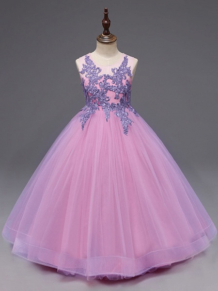 Ball Gown Floor Length Wedding / Party Flower Girl Dresses - Tulle Sleeveless Jewel Neck With Bow(S) / Appliques_2