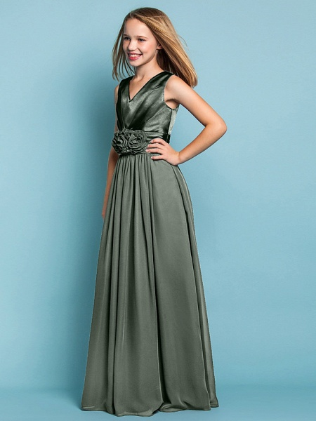 Sheath / Column V Neck Floor Length Chiffon Junior Bridesmaid Dress With Flower / Spring / Summer / Fall / Apple / Hourglass_26