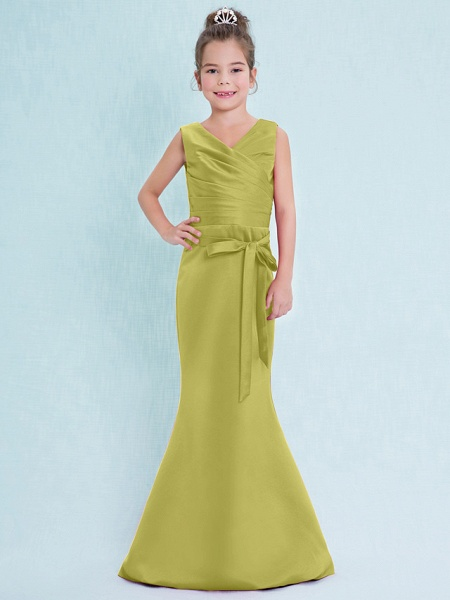Mermaid / Trumpet V Neck Floor Length Satin Junior Bridesmaid Dress With Criss Cross / Natural_19