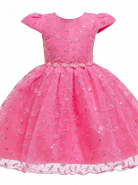 Princess / Ball Gown Knee Length Wedding / Party Flower Girl Dresses - Tulle Cap Sleeve Jewel Neck With Sash / Ribbon / Bow(S) / Embroidery_6