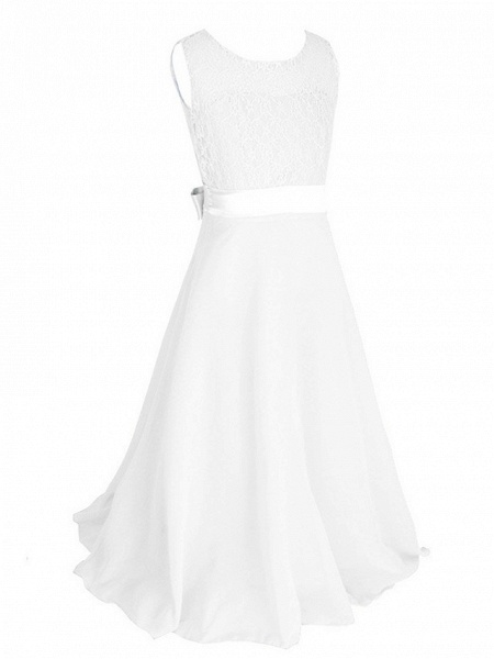 Princess / Ball Gown Maxi Party / Formal Evening / Pageant Flower Girl Dresses - Tulle / Poly&Cotton Blend Sleeveless Jewel Neck With Lace / Solid_5
