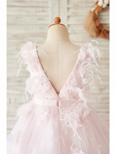 Ball Gown Tea Length Wedding / Birthday Flower Girl Dresses - Satin / Tulle Sleeveless Jewel Neck With Feathers / Fur / Lace / Belt_4