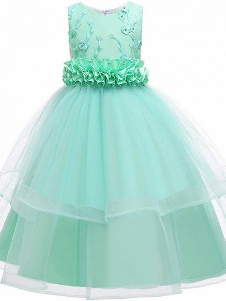 Princess / Ball Gown Ankle Length Wedding / Party Flower Girl Dresses - Tulle Sleeveless Jewel Neck With Sash / Ribbon / Bow(S) / Appliques_9