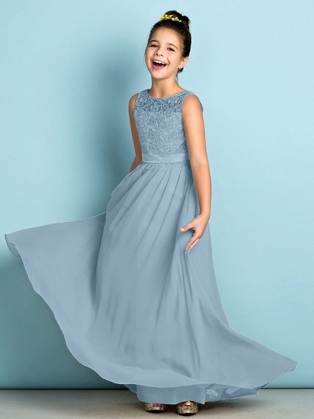 A-Line Scoop Neck Floor Length Chiffon / Lace Junior Bridesmaid Dress With Lace / Natural / Mini Me_32