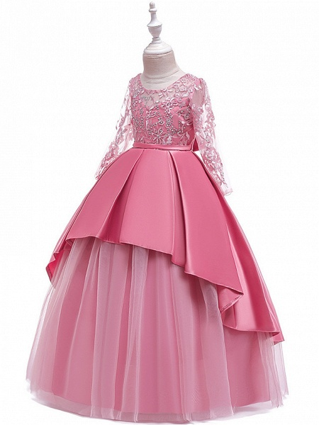 Ball Gown / A-Line Maxi Wedding / Formal Evening / Pageant Flower Girl Dresses - Cotton Blend / Lace 3/4 Length Sleeve Jewel Neck With Lace / Sash / Ribbon / Pleats_5